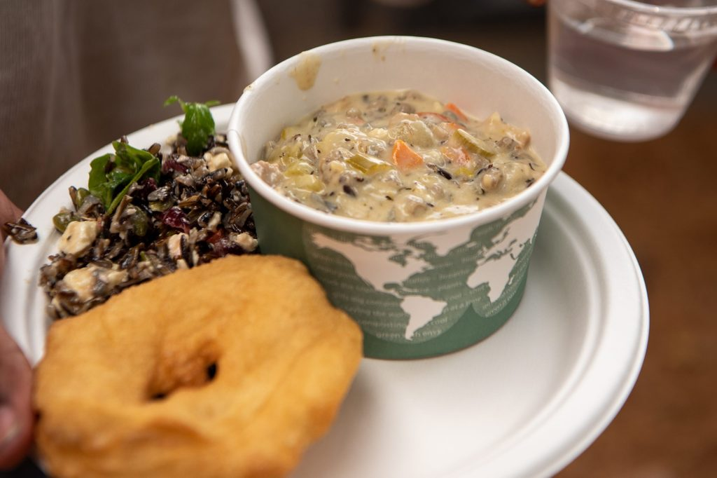 Turkey wild rice soup, wild rice salad and fry bread.