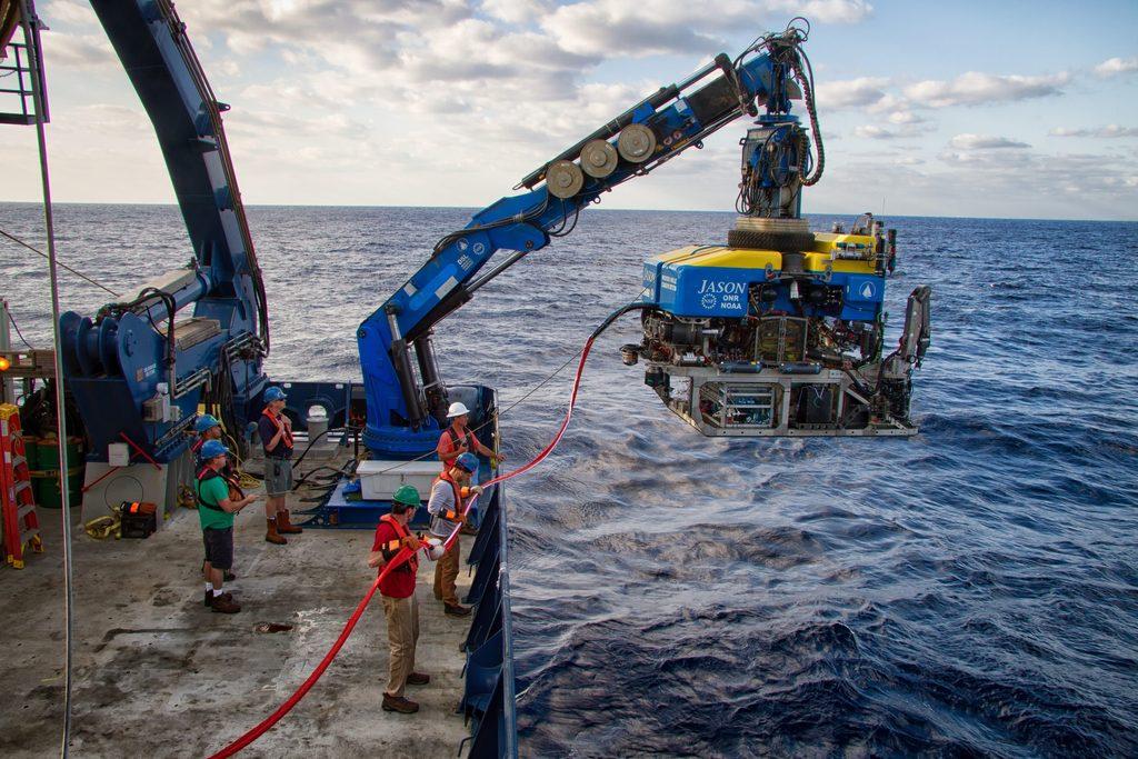 bringing up the deep sea robot.