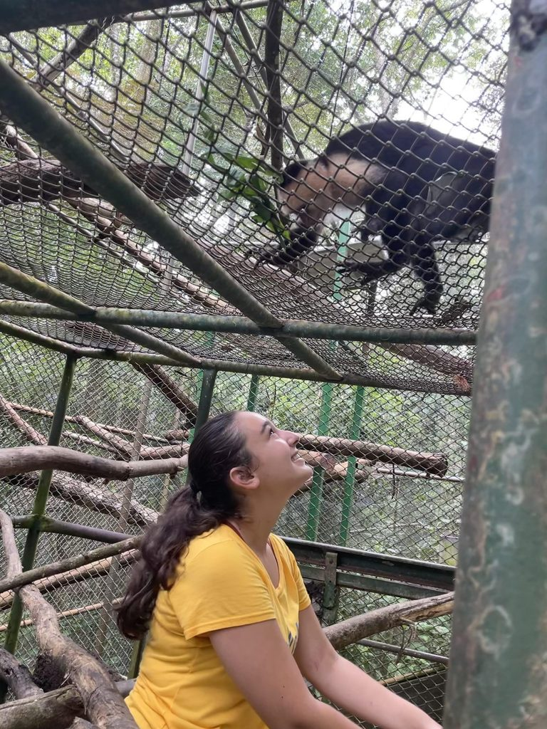 Maia with the monkeys.