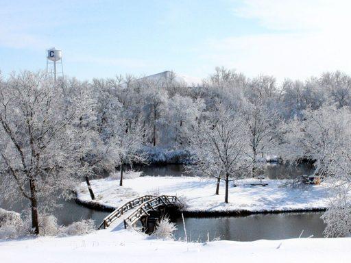 Bridge across Lyman lakes in winter