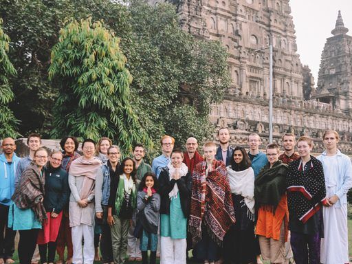 Group photo in front of temple