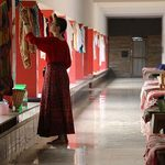 Student does laundry in the Vihar