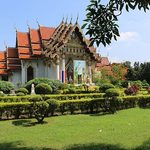 A traditional Buddhist temple and gardens