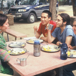 Students talk and eat enthusiastically