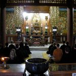 Students practice zen at a temple