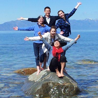 Kaylin, Chet, Lera, Giselle, Dilara on the eastern shore of Lake Baikal, May 2014