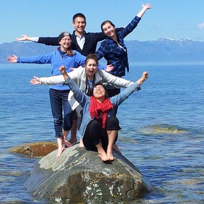 Kaylin, Chet, Lera, Giselle, Dilara on the eastern shore of Lake Baikal, May 2014