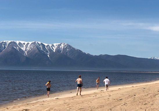 Carls open the beach season on Lake Baikal