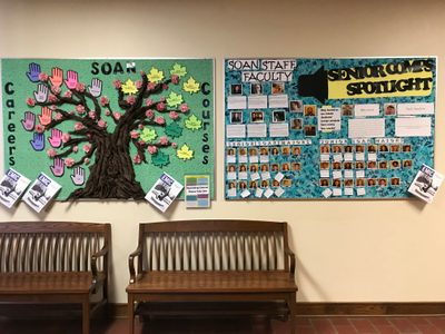 The SOAN bulletin boards on the second floor of Leighton Hall