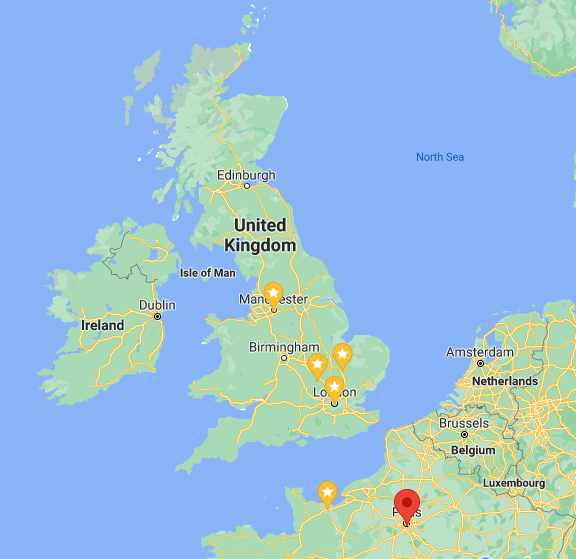 Map of UK with Manchester, Cambridge, Bletchley Park and London starred, Also Caen and Paris, France