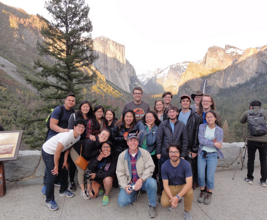 students pose for a group photo in Yosemite National Park