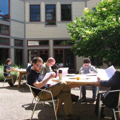 More portfolio readers in the sun.