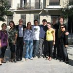 Some of the group with Spanish writer, Miguel Mena.