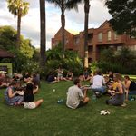 After an intense week of studio days, student relax at a pizza party in the gardens - Winter 2017