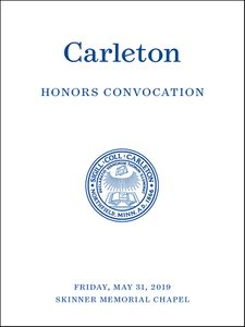 Image of the cover of the Carleton Honors Convocation printed program
