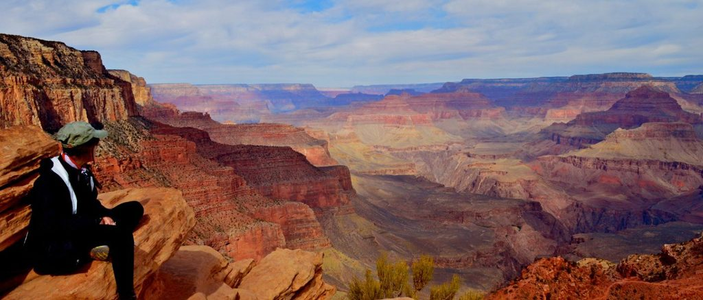 A student looks at the other-worldly landscape of the Grand Canyon
