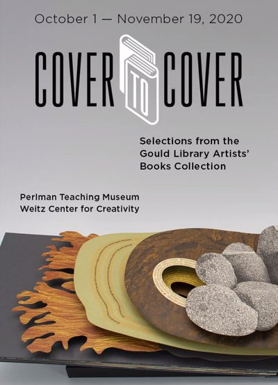 "poster for ""cover to cover"" exhibition of artists' books"