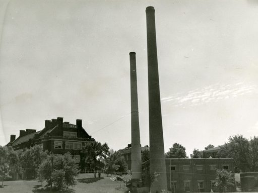 1941 photo of the physical plant, showing the original and new stacks