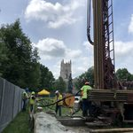 Drilling on the Bald Spot with the Chapel in the background