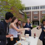 Passing out ice cream as part of the Running Out of Steam event in spring 2019