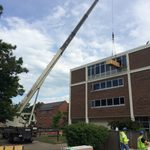 Lifting new equipment into Myers Hall