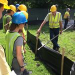 Student interns visiting with geothermal drillers