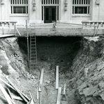 Steam tunnels under construction into Leighton Hall