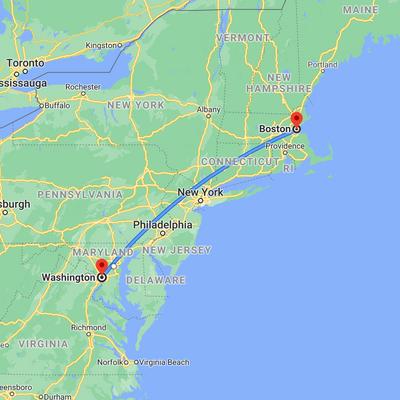 Map: Boston and Washington DC