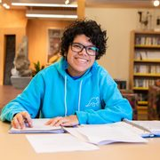 Maya Rogers '22 often settles into the Libe's Rookery.