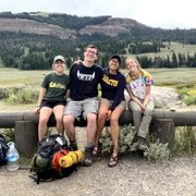 Ben Lowry, Maya Hilty, Katie Babbit, and Amida McNulty ready to research in Yellowstone.