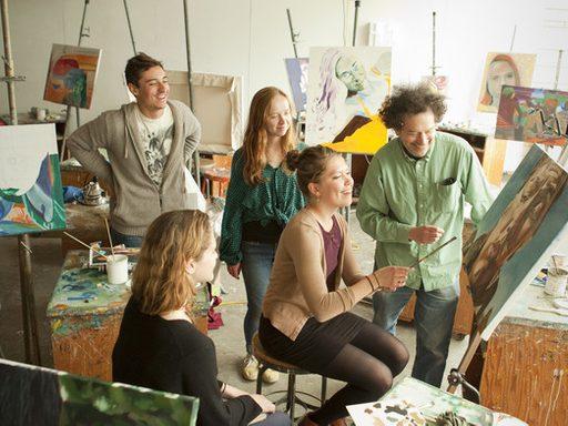 An instructor teaches art studio