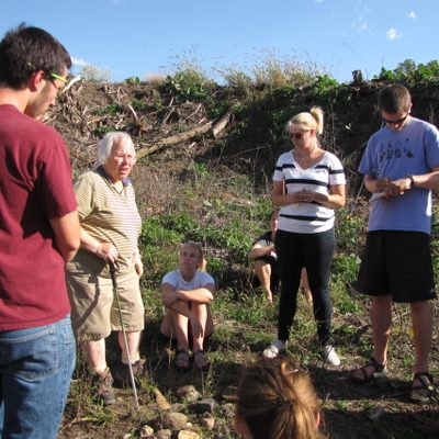 Professor Mary Savina with Geomorphology class in the Arb.