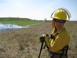 Nancy Braker at a prescribed burn at McKnight Prairie