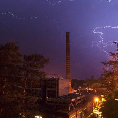 Lightning over the steam plant