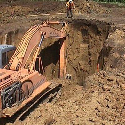 digging turbine foundation