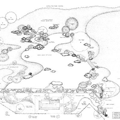 Landscape Drawing of the Japanese Garden