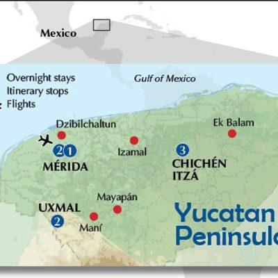 Yucatan's itinerary map