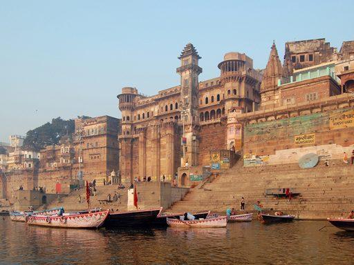 Varanasi's ancient ghats lining the Ganges River