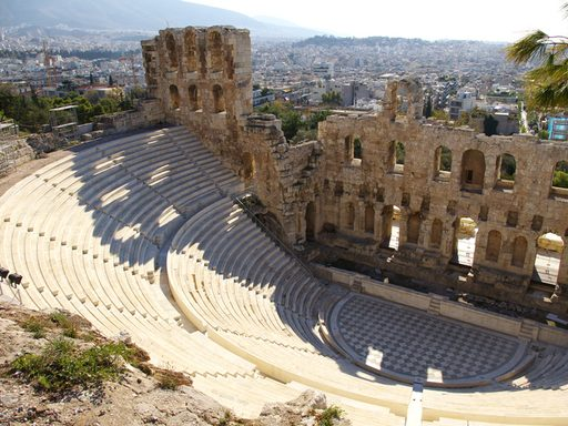 The Odeon of Herodes Atticus, located on the southwest slope of the Acropolis, Athens