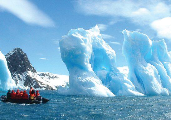 Zodiac boat on an excursion.