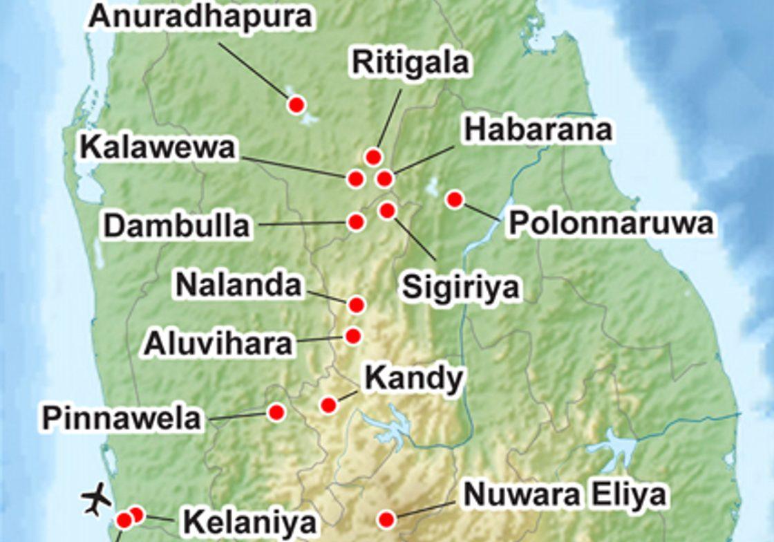 Map for Sri Lanka