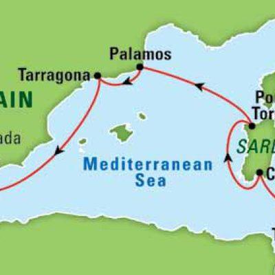 Destination map for The Mediterranean Sea and Civilization, October 2015