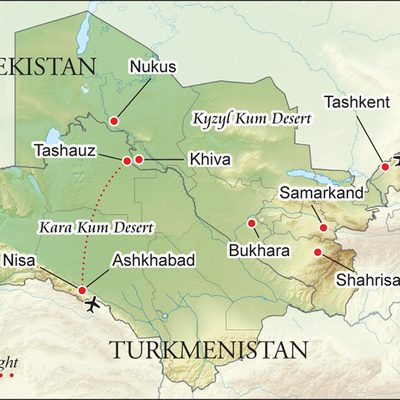 Map of the Silk Road itinerary