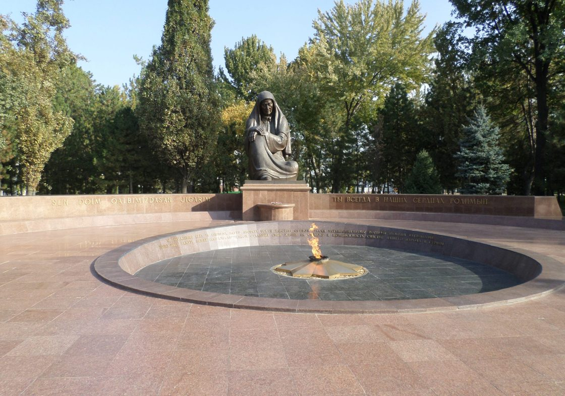 Lamenting Mother and eternal flame, WWII monument within Independence Square, Tashkent.