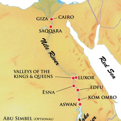 Map for Ancient Egypt & the River Nile land and riverboat trip.