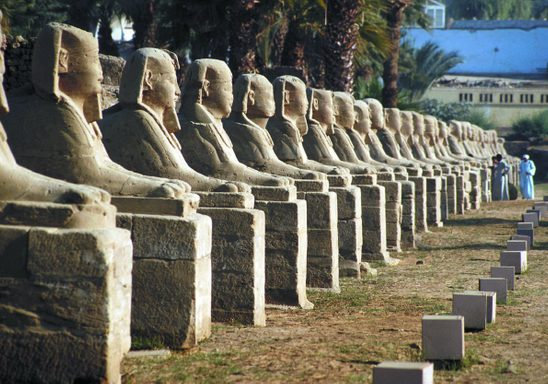 The Avenue of Sphinxes that once connected the temples of Karnak and Luxor.