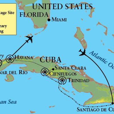 Map for the Cuba departure