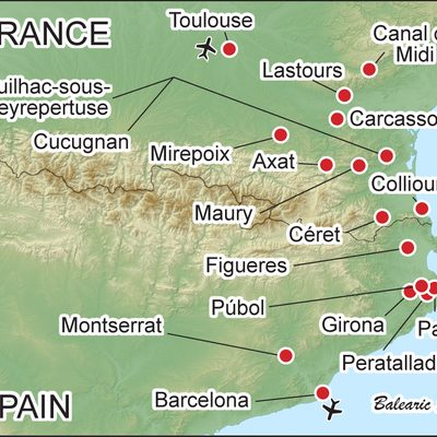Border Crossings: Exploring the French & Spanish Pyrenees map.