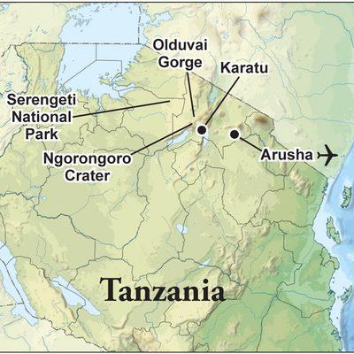 Map of the Tanzania Safari.