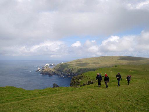 Hiking through Hermaness, Unst, Shetland.